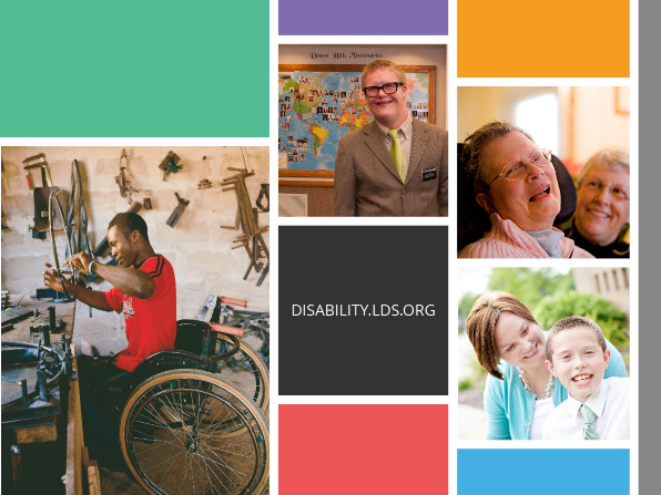 A compilation of several photographs of persons with disabilities and the URL for disability.lds.org.