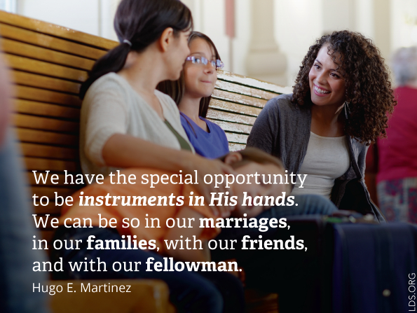 "A photograph of four girls on a bench, combined with a quote by Elder Hugo E. Martinez: ""We have the special opportunity to be instruments in His hands."""