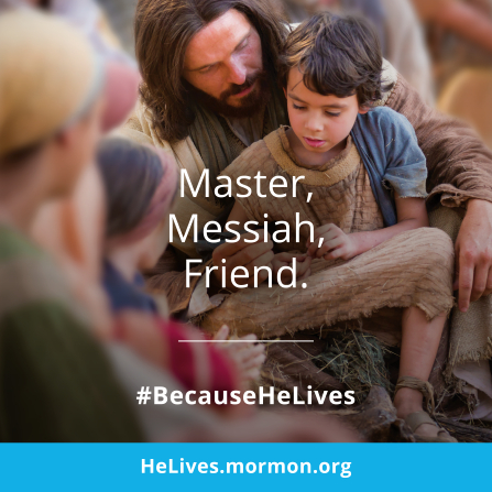 """An image of Christ with the children, combined with the words """"Master, Messiah, Friend."""""""