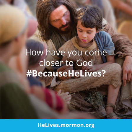 "An image of Christ with the children, paired with the words ""How have you come closer to God?"""