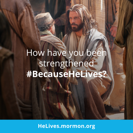 "An image of Christ talking with a man in the streets, combined with the words ""How have you been strengthened?"""