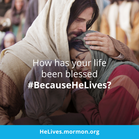 "An image of Christ comforting Mary and Martha, with the words ""How has your life been blessed?"" printed over the top."