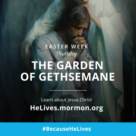 "A painting of Christ in the Garden of Gethsemane, combined with the words ""Easter week, Thursday: the Garden of Gethsemane."""