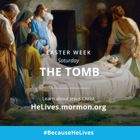 "A painting of Christ being placed in the tomb, coupled with the words ""Easter week, Saturday: the tomb."""
