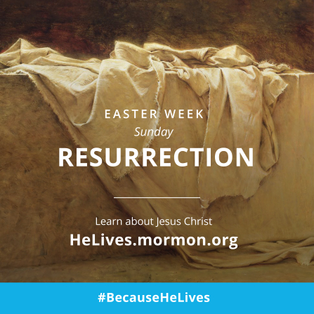 "An image of the empty tomb, combined with the words ""Easter week, Sunday: Resurrection."""