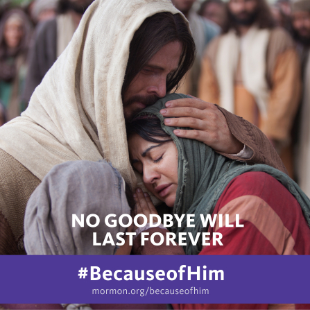 "An image of Christ comforting Mary and Martha, paired with the words ""No good-bye will last forever."""
