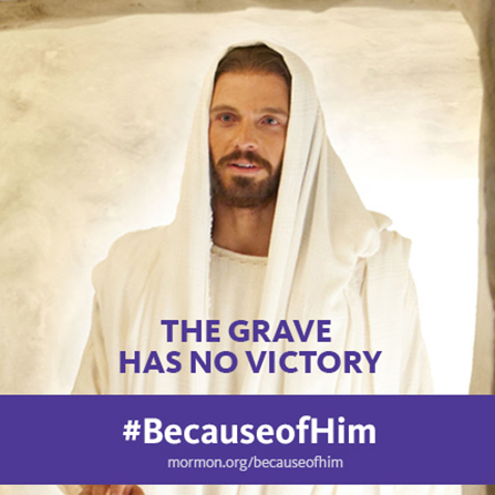 "An image of the resurrected Christ combined with the words ""The grave has no victory."""