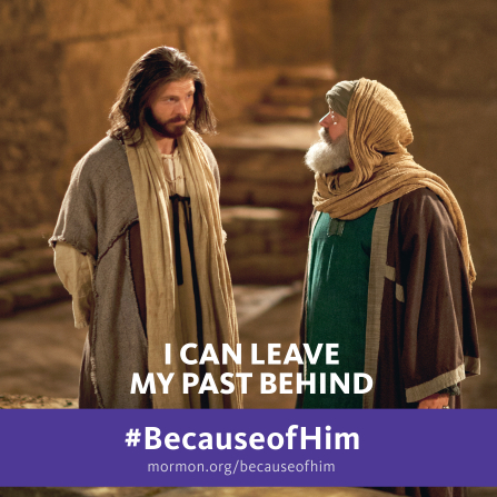 "An image of Christ talking with Nicodemus, paired with the words ""I can leave my past behind."""