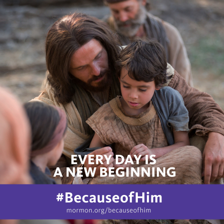 "An image of Jesus Christ sitting with a young boy, combined with the words ""Every day is a new beginning."""