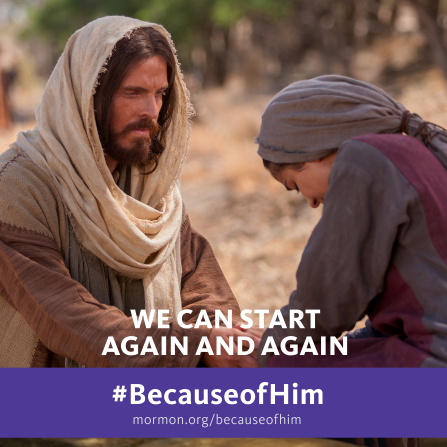 "An image of Christ comforting a woman, combined with the words ""We can start again and again."""