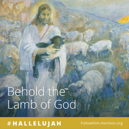 "A painting of Christ holding a black lamb and surrounded by sheep, paired with the words ""Behold the Lamb of God."""