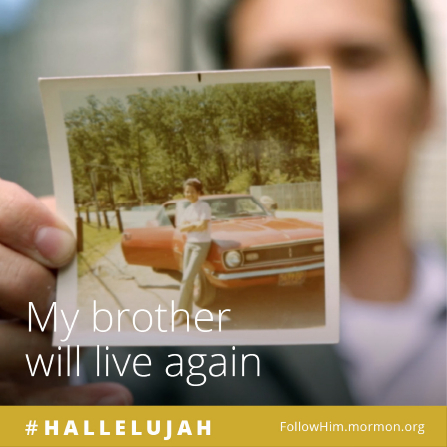 "A man holding an image of his brother, who is standing beside a car, combined with the words ""My brother will live again."""