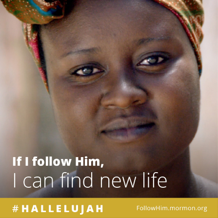 "A close-up of a young woman, combined with the words ""If I follow Him, I can find new life."""