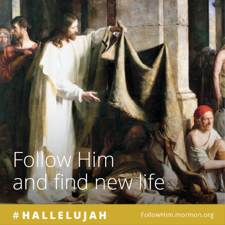 "A painting of Christ helping a sick man, paired with the words ""Follow Him and find new life."""