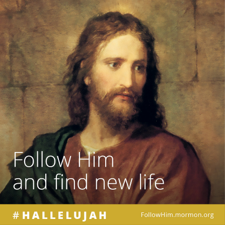 "A painting of Christ paired with the words ""Follow Him and find new life."""