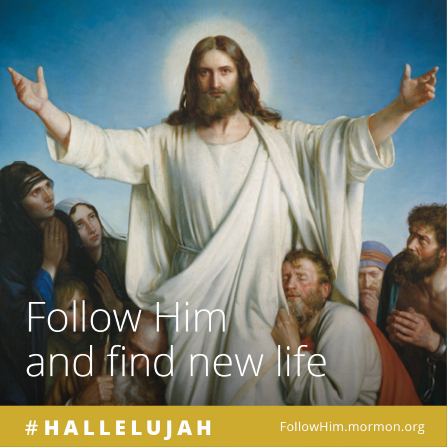 "A painting of Christ with outstretched arms, surrounded by a multitude of people, combined with the words ""Follow Him and find new life."""