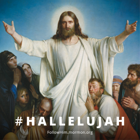 "A painting of Christ with outstretched arms, surrounded by a multitude, combined with the hashtag ""#Hallelujah."""