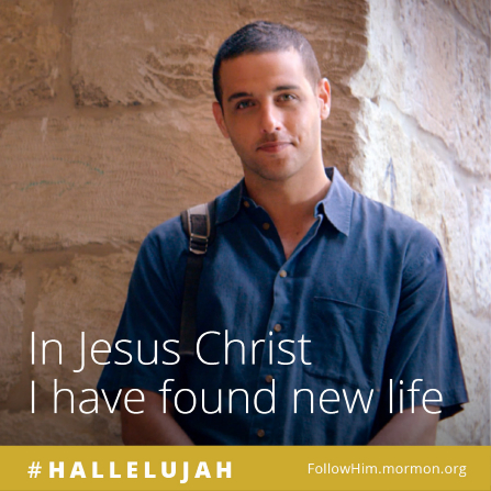 "A young man standing by a stone wall, paired with the words ""In Jesus Christ I have found new life."""