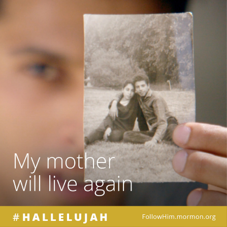 """A teenage boy holding a photograph of himself and his mother, paired with the words """"My mother will live again."""""""