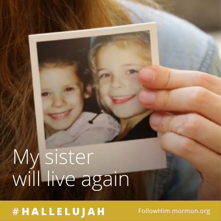 "A girl holding an old photograph of herself and her sister, paired with the words ""My sister will live again."""