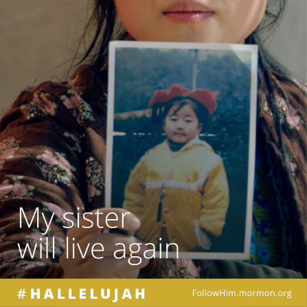 """A girl holding a photograph of her sister, paired with the words """"My sister will live again."""""""