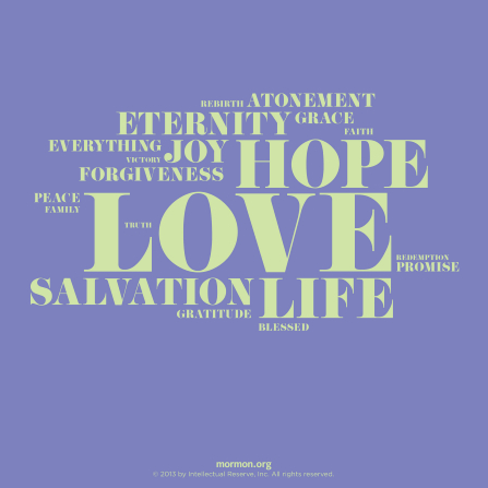 A simple purple graphic with a green word cloud over the top, including words such as hope and love.