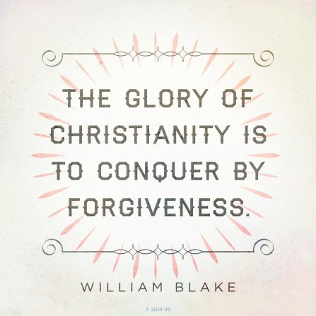 "A simple graphic with a light pink and green design, combined with a quote by William Blake: ""The glory of Christianity is to conquer by forgiveness."""