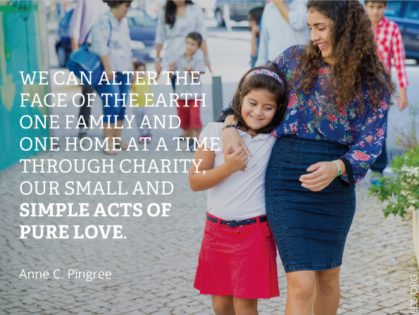 "A photograph of a young woman walking with her sister, combined with a quote by Sister Anne C. Pingree: ""We can alter the face of the earth … through charity."""