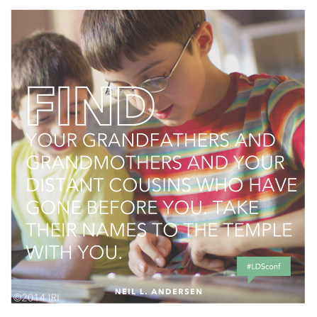 "An image of two boys looking through an album of pictures together, with a text overlay quoting Elder Neil L. Andersen: ""Take their names to the temple."""