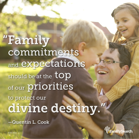"An image of a father and his children, combined with a quote by Elder Quentin L. Cook: ""Family commitments and expectations should be at the top of our priorities."""