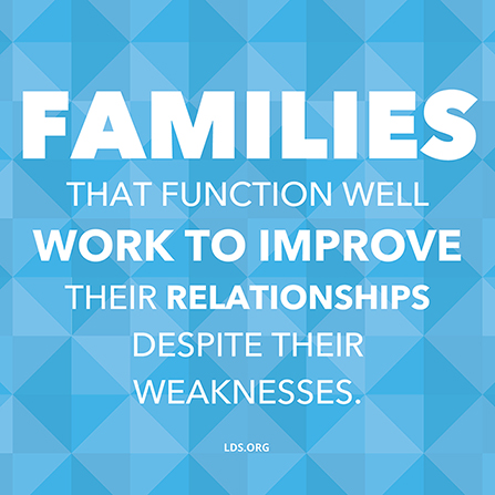 "A blue diamond-patterned graphic combined with the words ""Families that function well work to improve their relationships."""