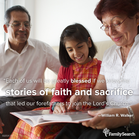 "A photograph of family members looking at a photo album, with a quote by Elder William R. Walker: ""Know the stories of faith and sacrifice that led our forefathers to join the Lord's Church."""
