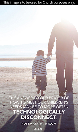 "An image of a father and son on the beach, paired with a quote by Sister Rosemary M. Wixom: ""The answer to our prayer … may be to more often technologically disconnect."""
