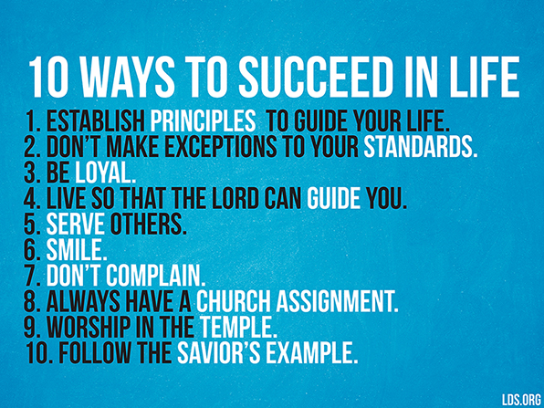 A plain blue graphic with a list of 10 ways to succeed in life by Elder Richard G. Scott.