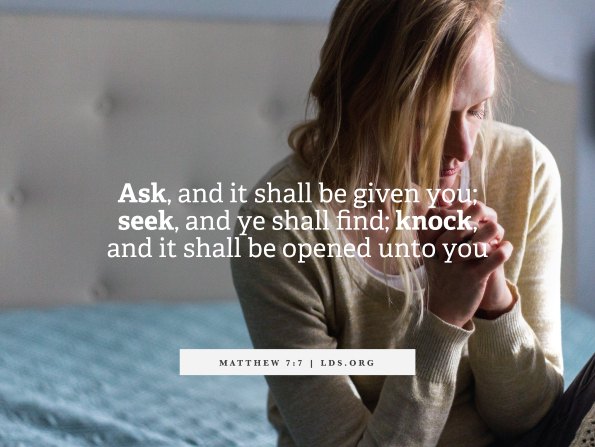 A photograph of a woman with blonde hair kneeling and praying, with the words of Matthew 7:7.