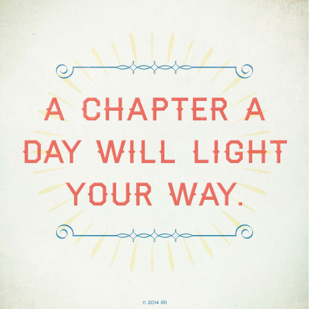 "A neutral white background with pale white and blue designs combined with the words ""A chapter a day will light your way."""