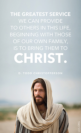 "An image of Christ with a text overlay quoting Elder D. Todd Christofferson: ""The greatest service we can provide to others … is to bring them to Christ."""