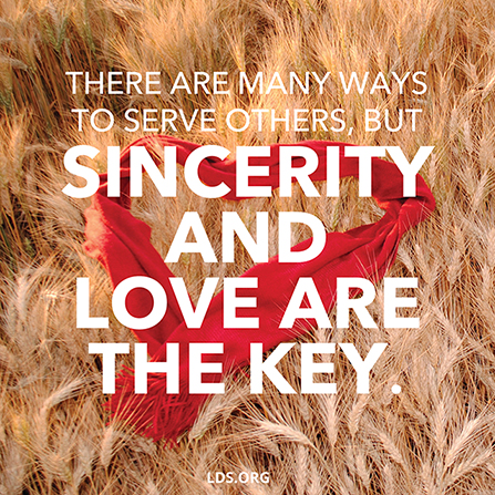 "A photograph of a red scarf in the shape of a heart combined with the words ""Sincerity and love are the key."""
