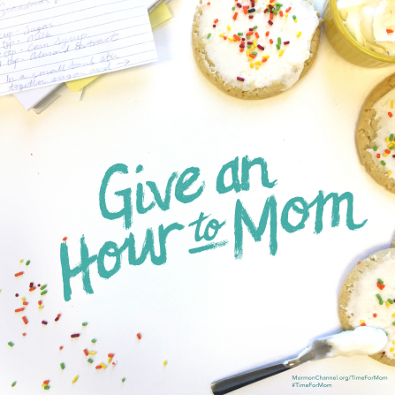"A photograph of frosted cookies with sprinkles, paired with the words ""Give an hour to Mom."""