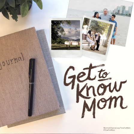 "A photograph of a journal and some family photos on a table, paired with the words ""Get to know Mom."""