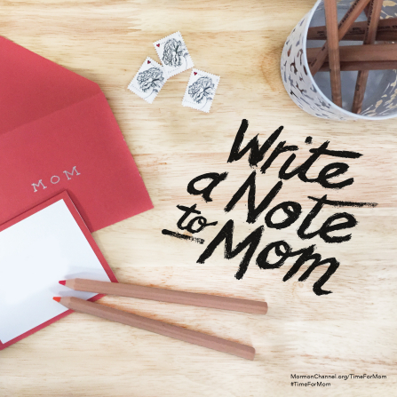 "A photograph of a notecard, some stamps, and some pencils, paired with the words ""Write a note to Mom."""