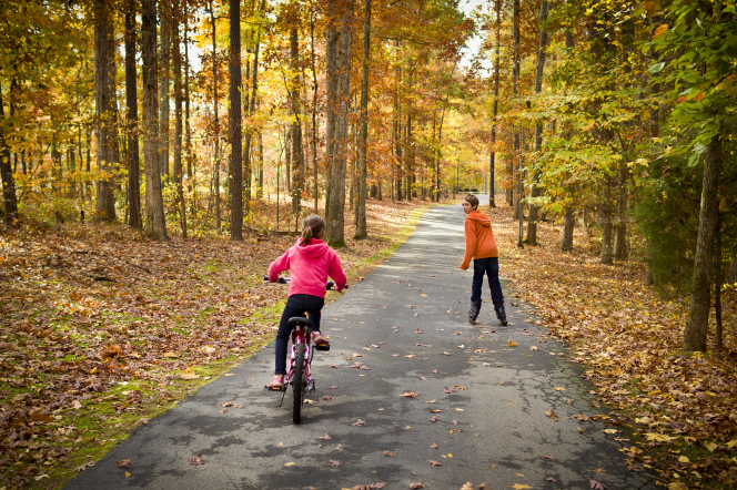 A young girl rides a bike down a path through trees with colorful leaves while a boy skates up ahead of her.