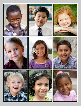 Nine portraits of smiling Primary-age boys and girls of different ethnicities.