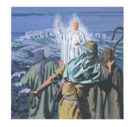 An illustration of an angel standing in front of the shepherds, announcing Christ's birth.