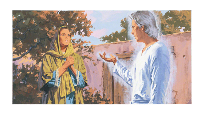 A painting of the angel Gabriel appearing to Mary.
