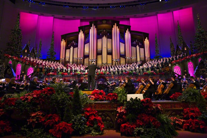 The Mormon Tabernacle Choir sings at a Christmas concert in the Conference Center.