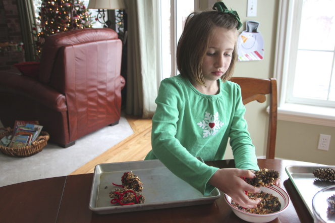 A girl in a green shirt dipping pine cones in birdseed at a kitchen table.