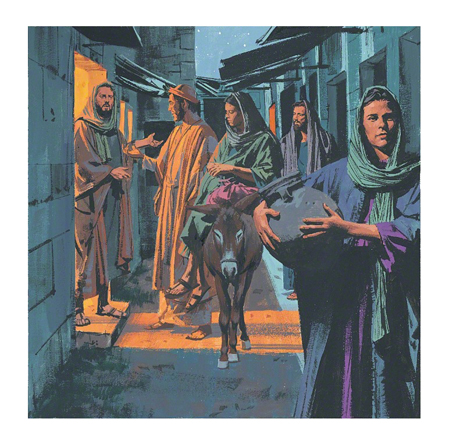 An illustration of Mary and Joseph talking to an innkeeper at night, looking for a room.