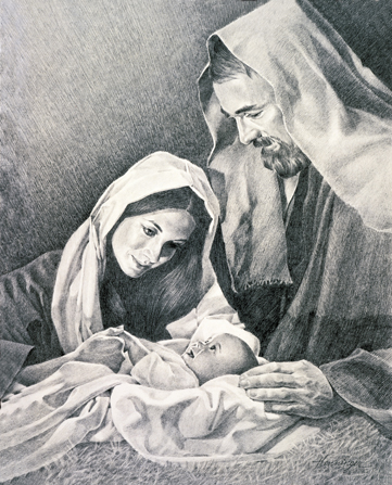 A black and white sketch of Mary and Joseph standing over the baby Jesus on Christmas night.