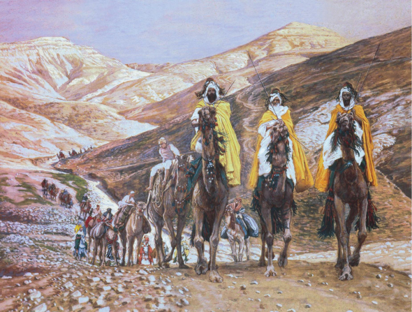 An illustration of the three Wise Men on camels going down a path in search of Jesus.